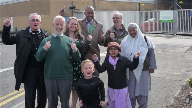 Celbrating Brent Green party victory over ASDA